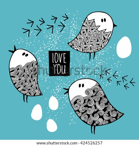 Set of cute doodle birds. Vector illustration.