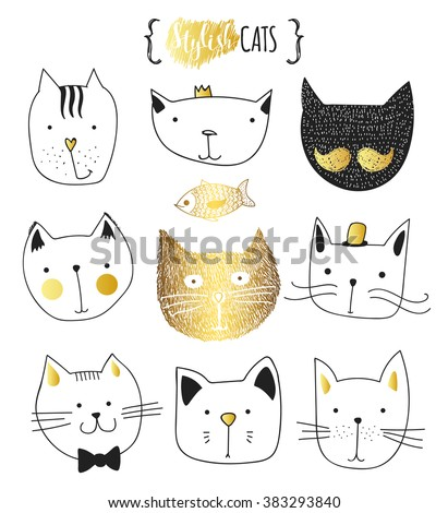 Set of cute doodle cats . Sketch cat.  Cat handmade . Print T-shirts for the cat . Print for clothes . Kids Doodle animals . Stylish muzzle cats . Isolated cat. Character cat - stock vector