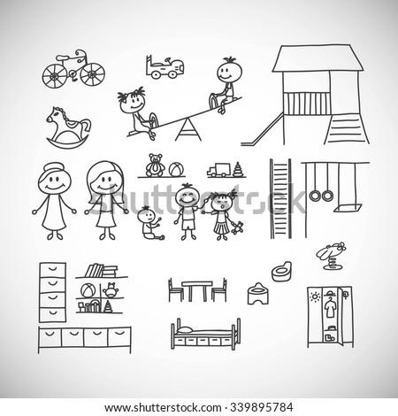Set of cute doodle children.Kindergarten. - stock vector
