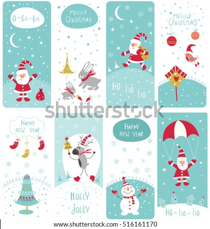 Set of cute doodle Christmas banners with Santa, snowman, reindeer, rabbit