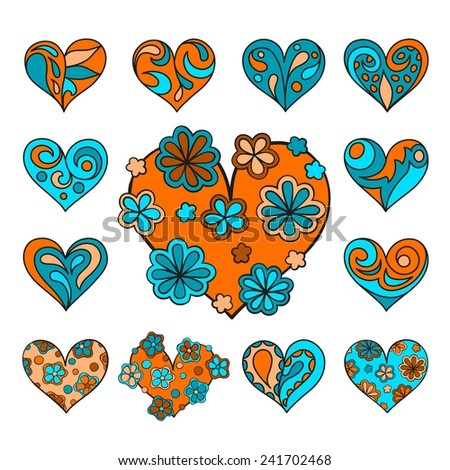 Set of cute drawn hearts with floral decorations. Isolated, vector, editable, can be used as decor elements, for a greeting card, as stickers, for advertisiments - stock vector