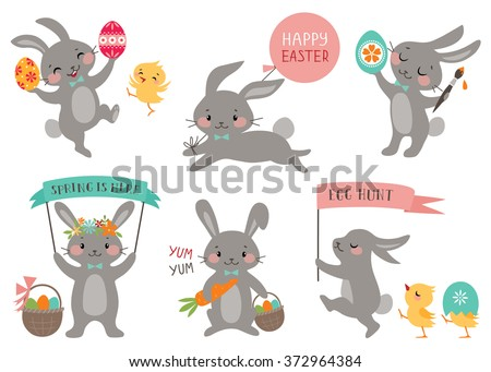 Set of cute Easter rabbits with Easter eggs and banners. - stock vector