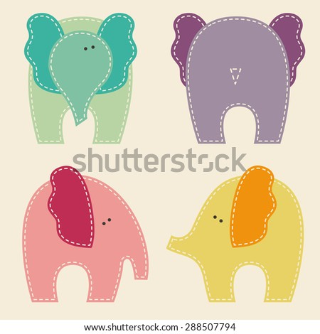 Set of cute elephants in different views (front, back, side). Stylized applique with white seams. Childish vector design elements - stock vector