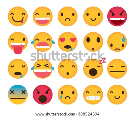 Set of cute emoticons isolated on white background - stock vector