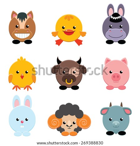 Set of cute farm animals on white background. Vector illustration. - stock vector