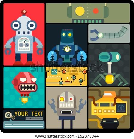 Set of cute flat robots set, Cartoon robots collection, Vector illustrator - stock vector