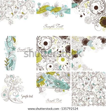 Set of cute floral greeting cards - stock vector