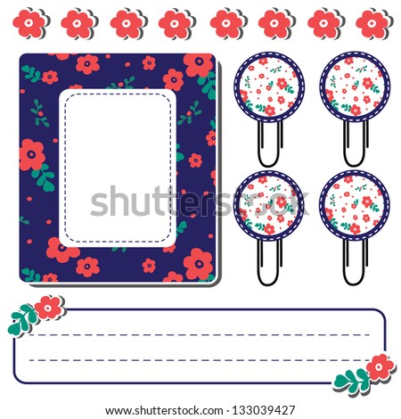 Set of cute flower elements for scrapbook, Vector illustration