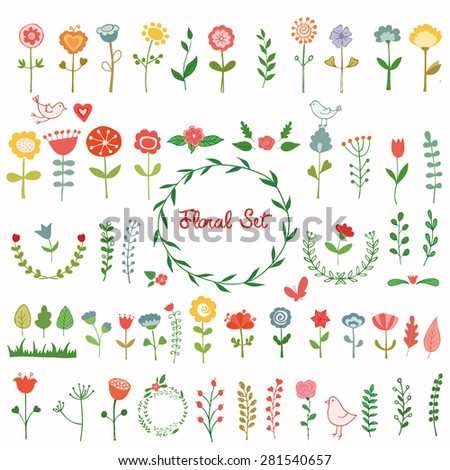 Set of cute flowers. Hand drawn vector illustration.