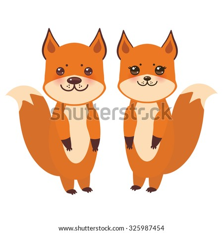 set of cute fox, boy and girl with funny face and big eyes and fluffy tails isolated on white background. Vector - stock vector