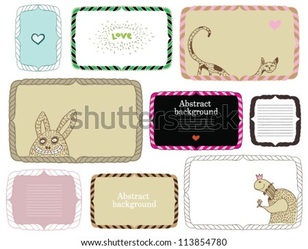 Set of cute frames. Text box, scrapbook elements and monsters.