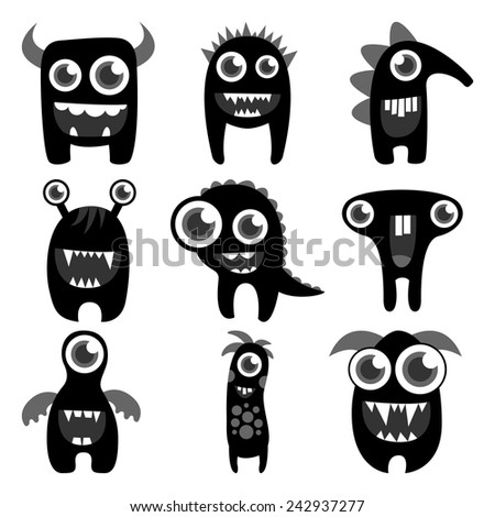 set of cute freaky monsters silhouettes