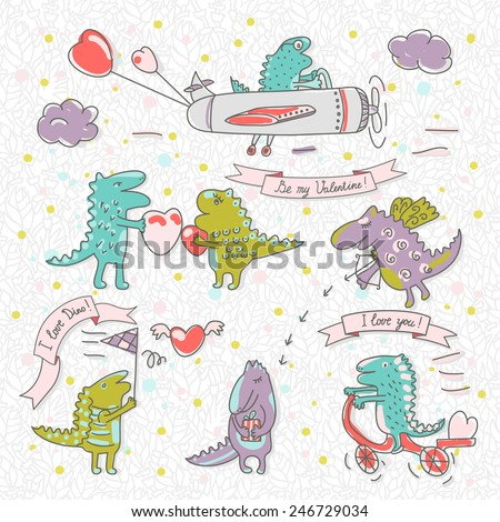 """Set of cute funny dinosaurs with hearts. The text on the ribbon """"I love Dino!"""", """"I love you!"""", """"By my Valentine!"""". In the background pattern of palm trees. - stock vector"""
