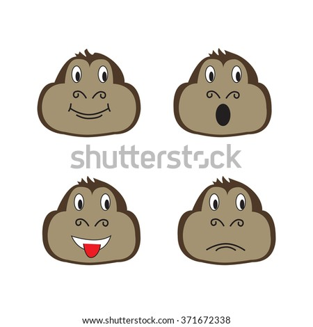 Set of cute funny monkeys in a cartoon style. Funny monkey.  Monkey symbol of the year.   Isolated on a colored background. Vector illustration. - stock vector