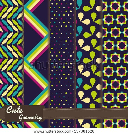 set of cute geometrical seamless patterns - stock vector