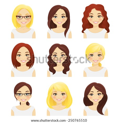Set of cute girls with different hairstyles and color - stock vector