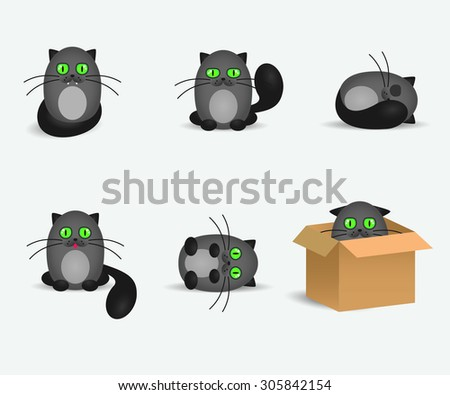 Set of cute gray cats with geen eyes - stock vector