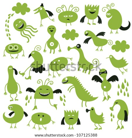 set of cute green monsters - stock vector