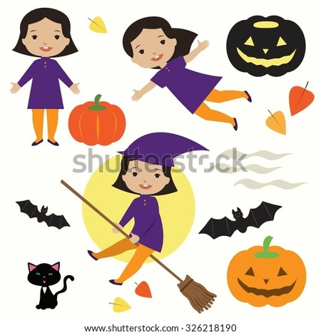 Set of cute halloween icons. Flying little witch, pumpkin, black cat and bat.