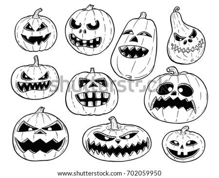 set cute hand drawing illustration halloween stock vector royalty