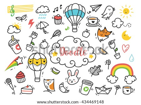 Set of cute hand drawn doodle - stock vector