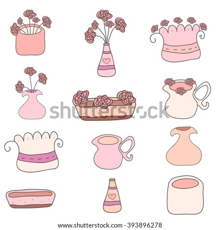 Set of cute hand drawn flowers and pots isolated on white background. Vector illustrations