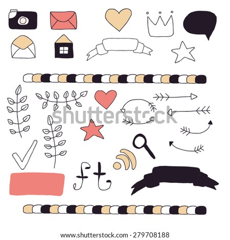 Set of cute hand drawn icons for blog or website. Pictograms, buttons, ribbons, banners, arrows and decoration in restrained colors. Vector illustration.