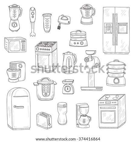 Set of cute hand drawn kitchen appliances. Vector kitchen collection - stock vector