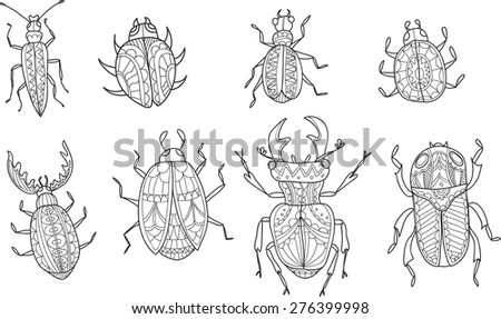 Set of cute hand drawn ornamental beetles. Vector - stock vector
