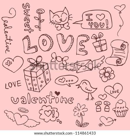 set cute hand drawn romantic things stock vector 114861433
