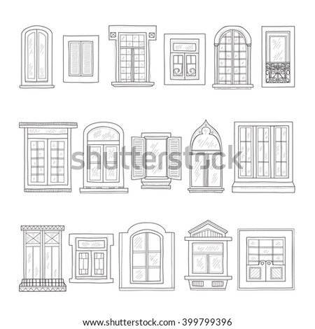vintage window drawing. set of cute hand drawn windows including 16 different types. vintage collection window drawing e