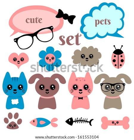 Set of cute happy animals and random elements - stock vector