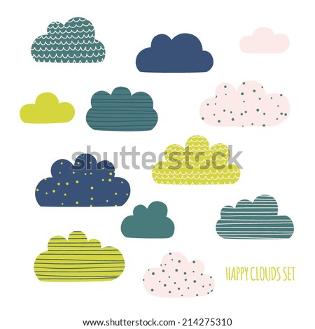 Set of cute happy clouds. Cartoon clouds for kids. Vector illustration - stock vector