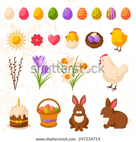 Set of Cute Happy Easter Icons. Vector Illustration. Colorful Eggs Collection, Yellow Chick and Hen, Bouquet of Daffodils and Crocuses, Sweet Cake, Chocolate Rabbit, Nest with Eggs. Easter Egg Hunt. - stock vector