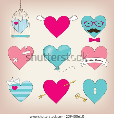 Set of cute hearts for Valentine's Day - stock vector