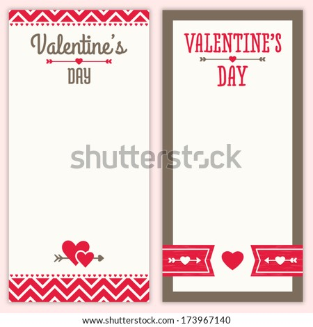 Set of cute hipster background designs for Valentine's Day. Great for greeting card, poster, menu, party invitation or shopping list template, social media, web banner. - stock vector