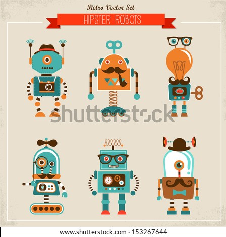 Set of cute hipster vintage robots - stock vector