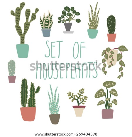 Set of cute houseplants on white background - stock vector