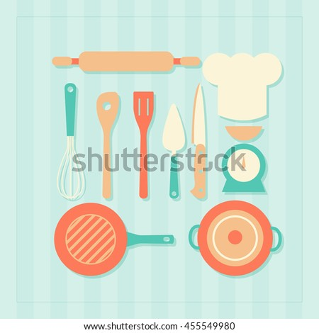 Set of cute icons featuring various kitchen utensils and cooking related objects.