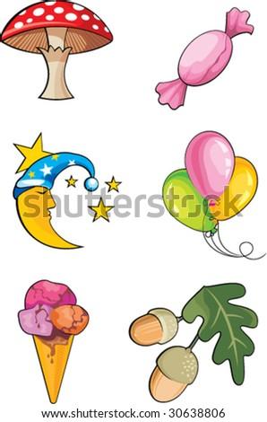 set of cute illustrations - stock vector