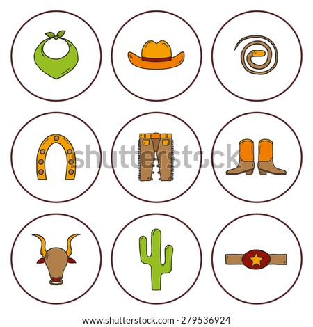 Set of cute isolated rodeo icons made in cartoon hand drawn style. Cowboy's pants, shoe, hat, horseshoe, lasso, cactus. You can use it for your western design. - stock vector