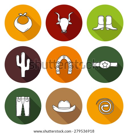 Set of cute isolated rodeo icons made in cartoon hand drawn style with shadows. Cowboy's pants, shoe, hat, horseshoe, lasso, cactus. You can use it for your western design. - stock vector