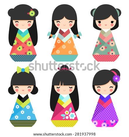 Set of cute Japanese Kokeshi Dolls - stock vector