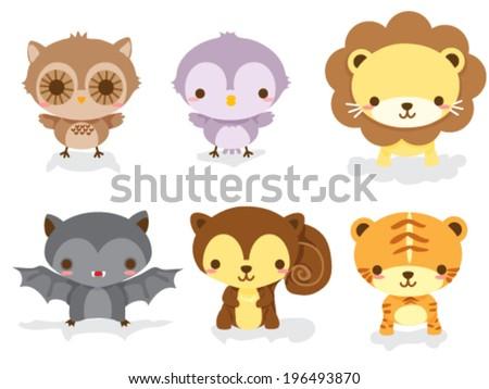 Set of cute jungle animal babies - stock vector