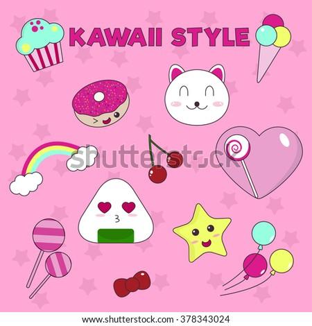 Set of Cute Kawaii Style Icons. Cute Star, Sweet Donut, Charming Kitten and  Kawaii Sushi. Vector Illustration. - stock vector