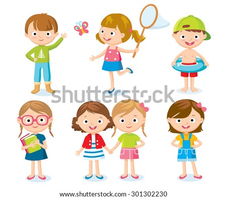 set of cute kids on holidays - stock vector