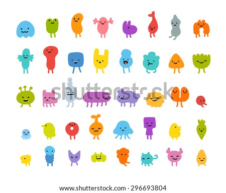 Set of cute little cartoon monsters with different shapes, colors and facial expressions. - stock vector
