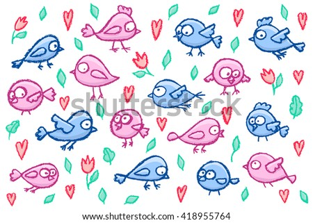 Set of cute little hand drawn blue and pink birds, flowers and hearts. Cartoon vector bright funny birds isolated over white. - stock vector