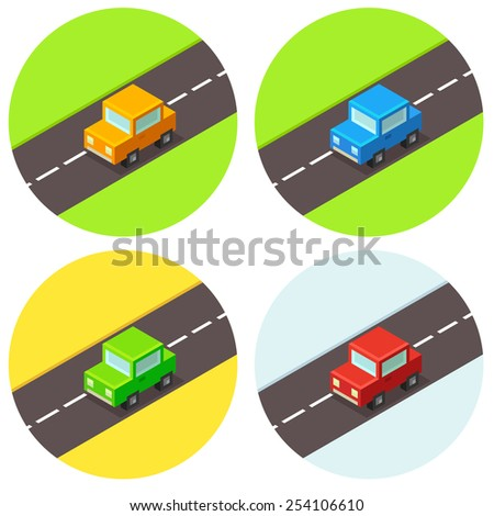 Set of cute little isometric cars in different colors. - stock vector