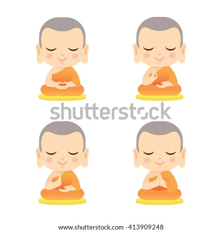 Set of cute monk with different hand gesture. Cartoon vector illustration isolated on white background. - stock vector